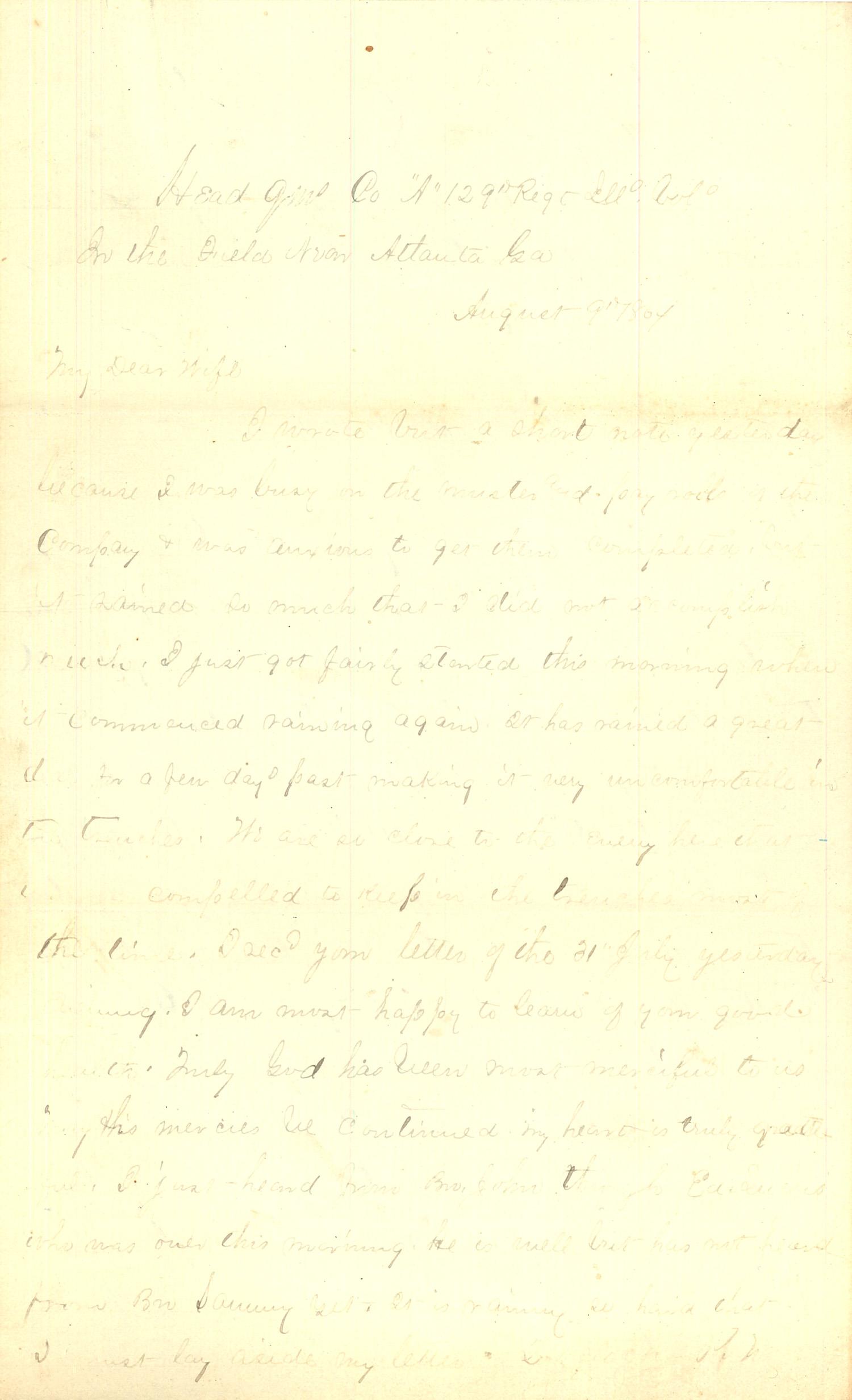 Joseph Culver Letter, August 9, 1864, Page 1