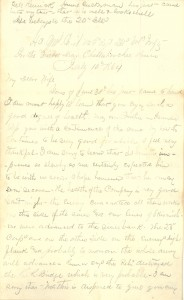 Joseph Culver Letter, July 10, 1864, Page 1
