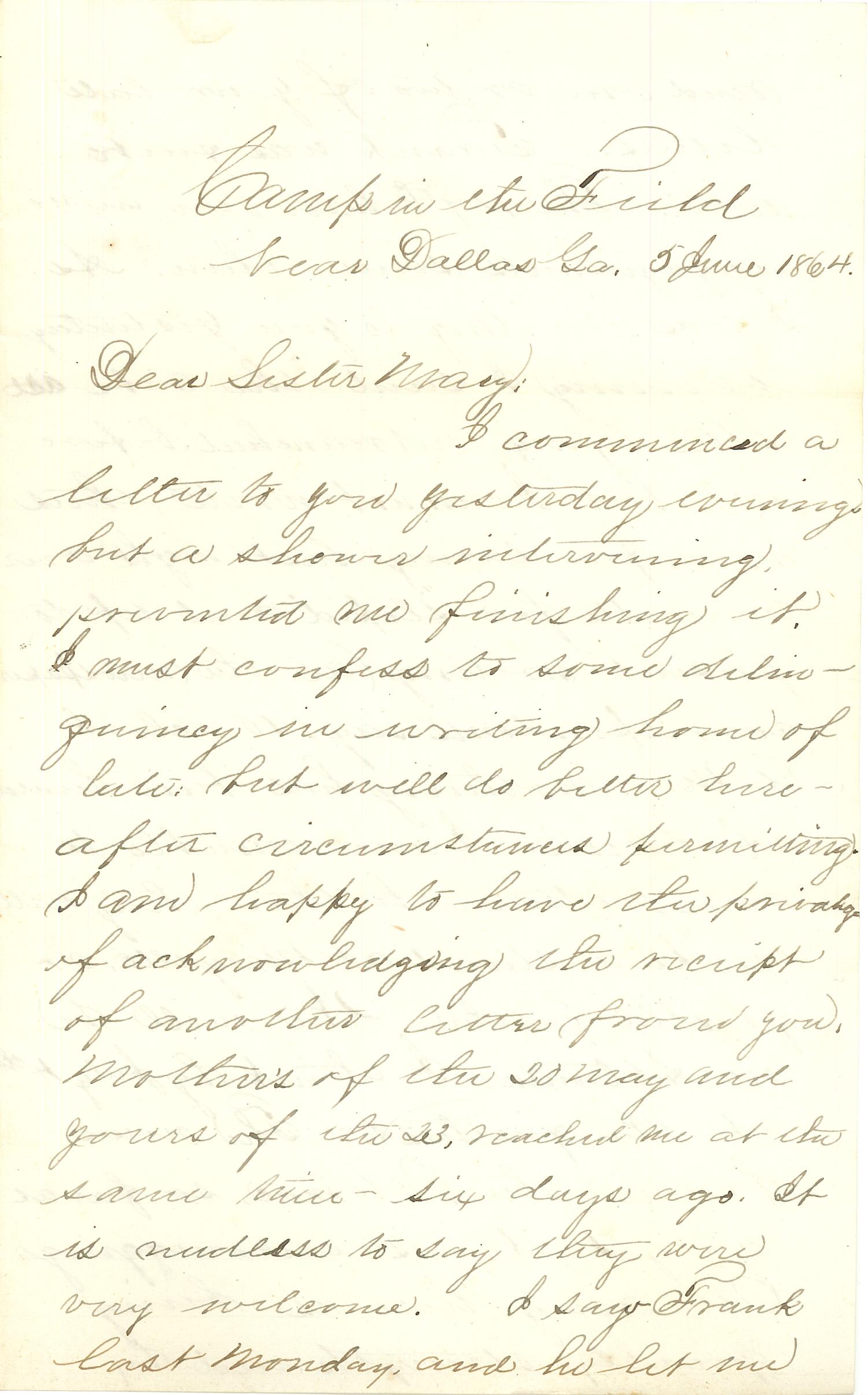Joseph Culver Letter, June 5, 1864, Letter 2, Page 1