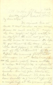 Joseph Culver Letter, March 19, 1865, Page 1