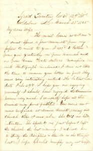Joseph Culver Letter, March 28, 1865, Page 1