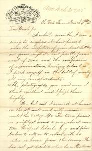 Joseph Culver Letter, March 31, 1865, Page 1