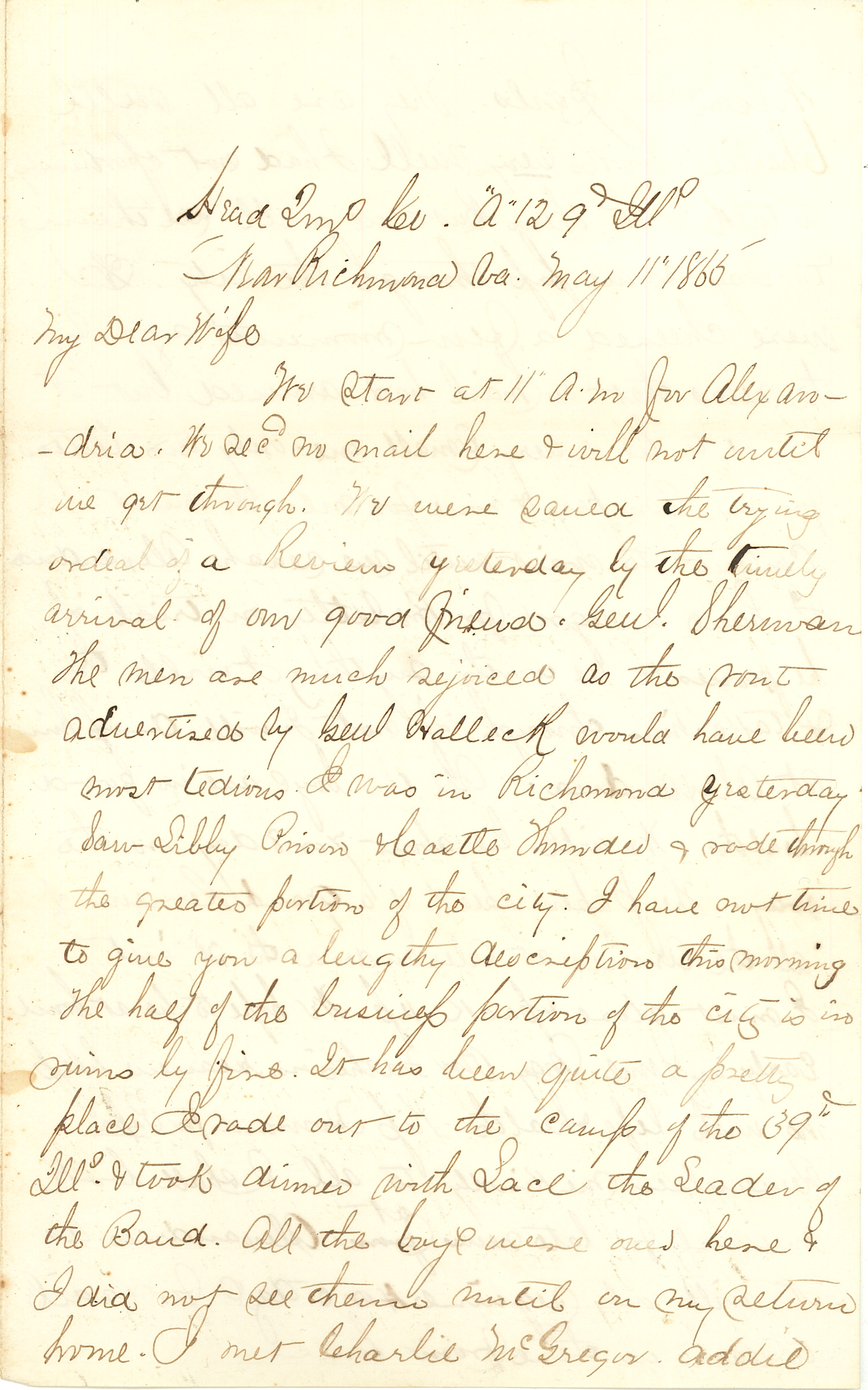 Joseph Culver Letter, May 11, 1865, Page 1