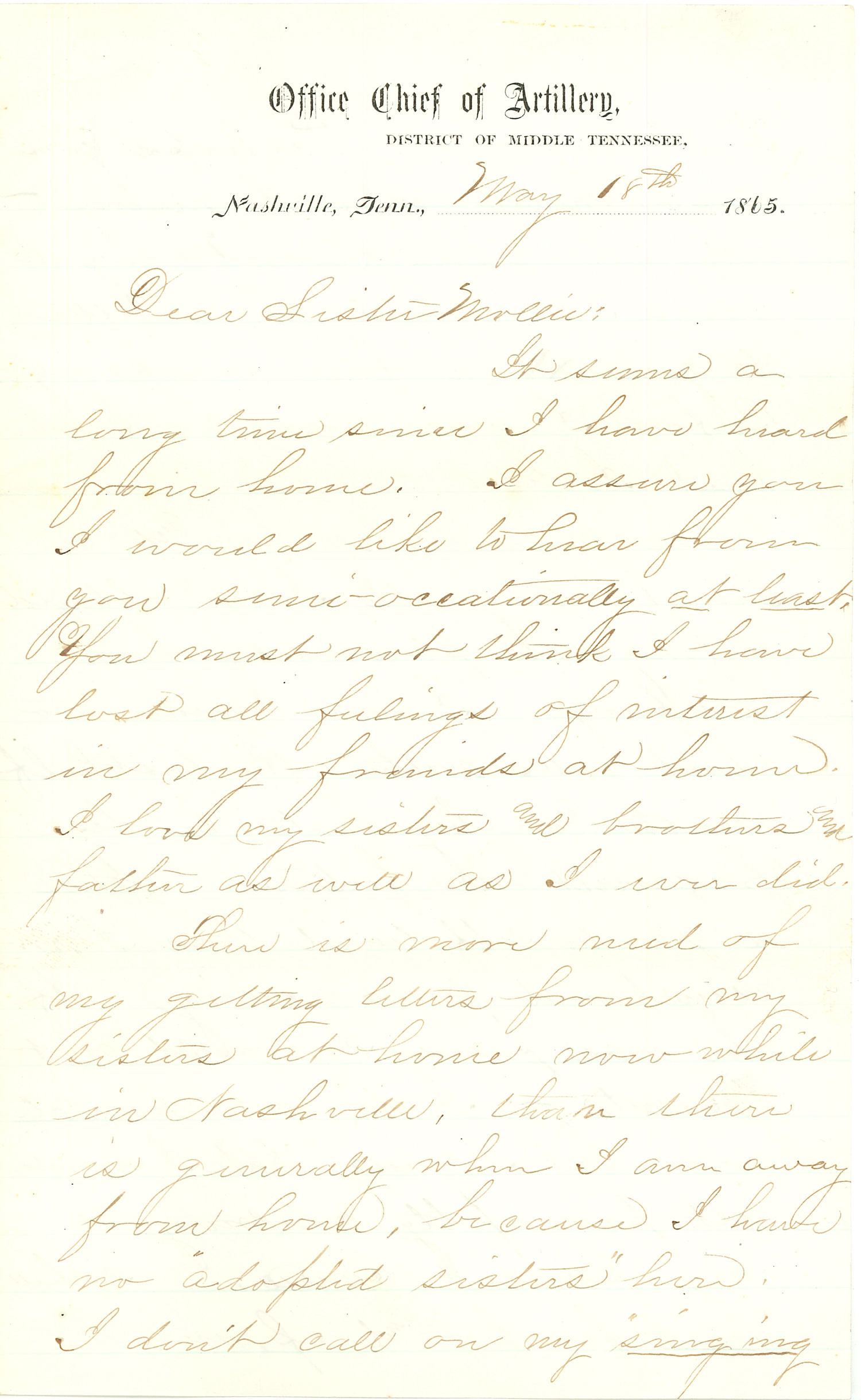 Joseph Culver Letter, May 18, 1865, Page 1