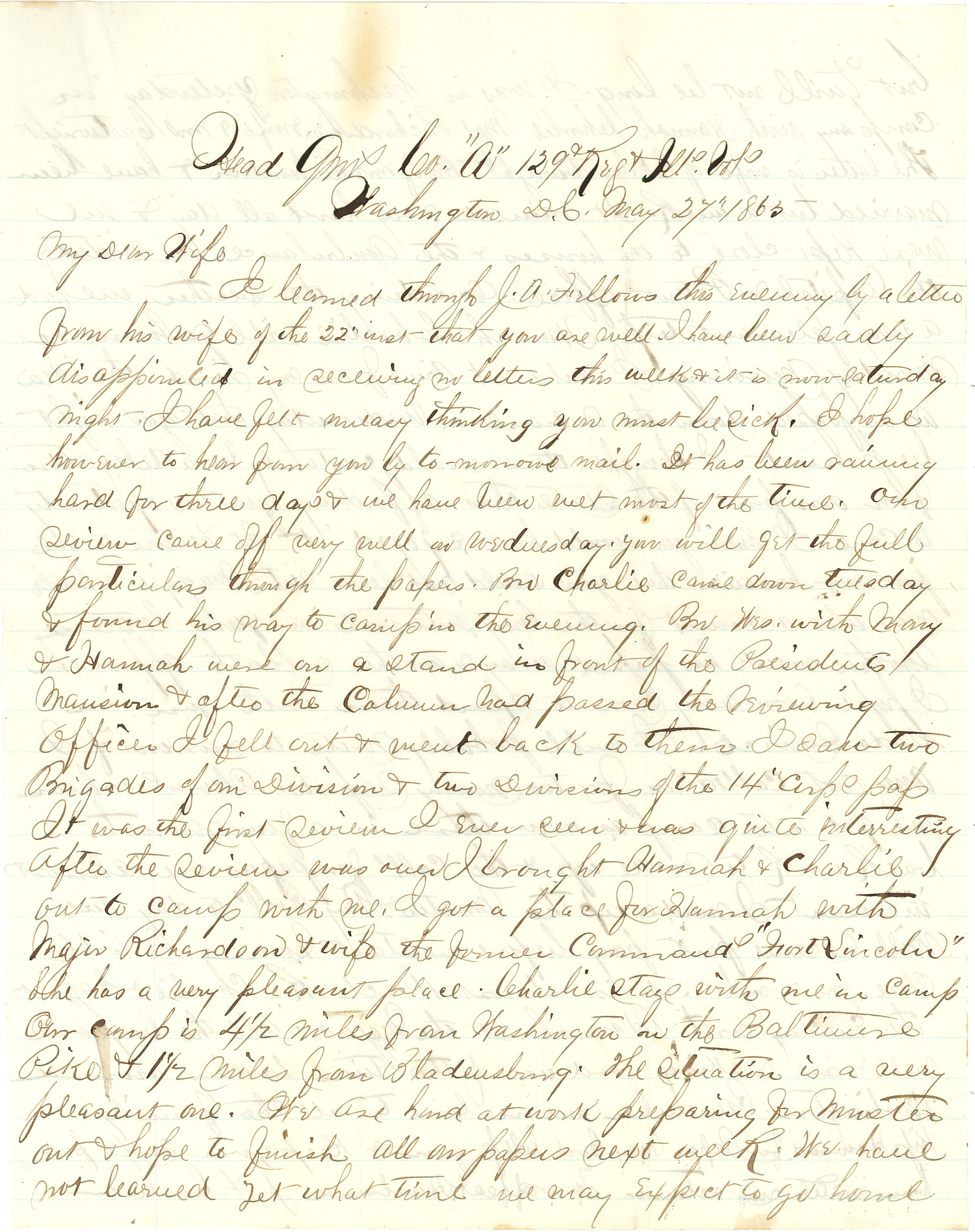 Joseph Culver Letter, May 27, 1865, Page 1