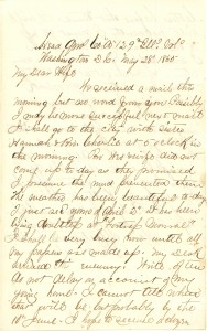 Joseph Culver Letter, May 28, 1865, Letter 2, Page 1