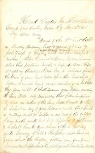 Joseph Culver Letter, November 16, 1862, Page 1