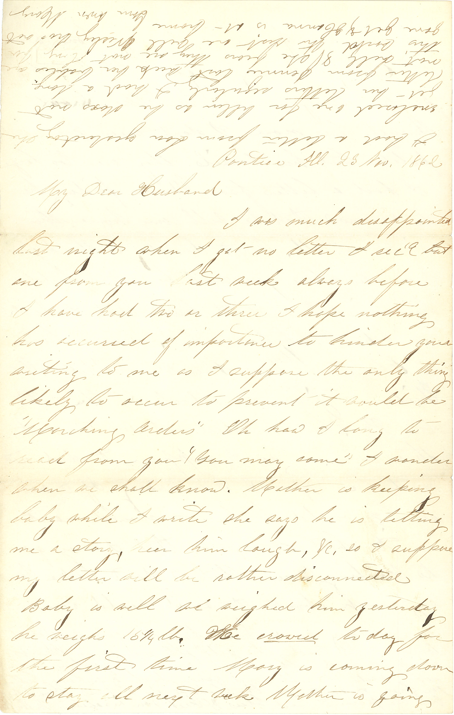 Joseph Culver Letter, November 23, 1862, Page 1