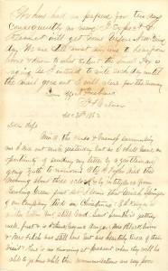 Joseph Culver Letter, December 30, 1862, Page 1