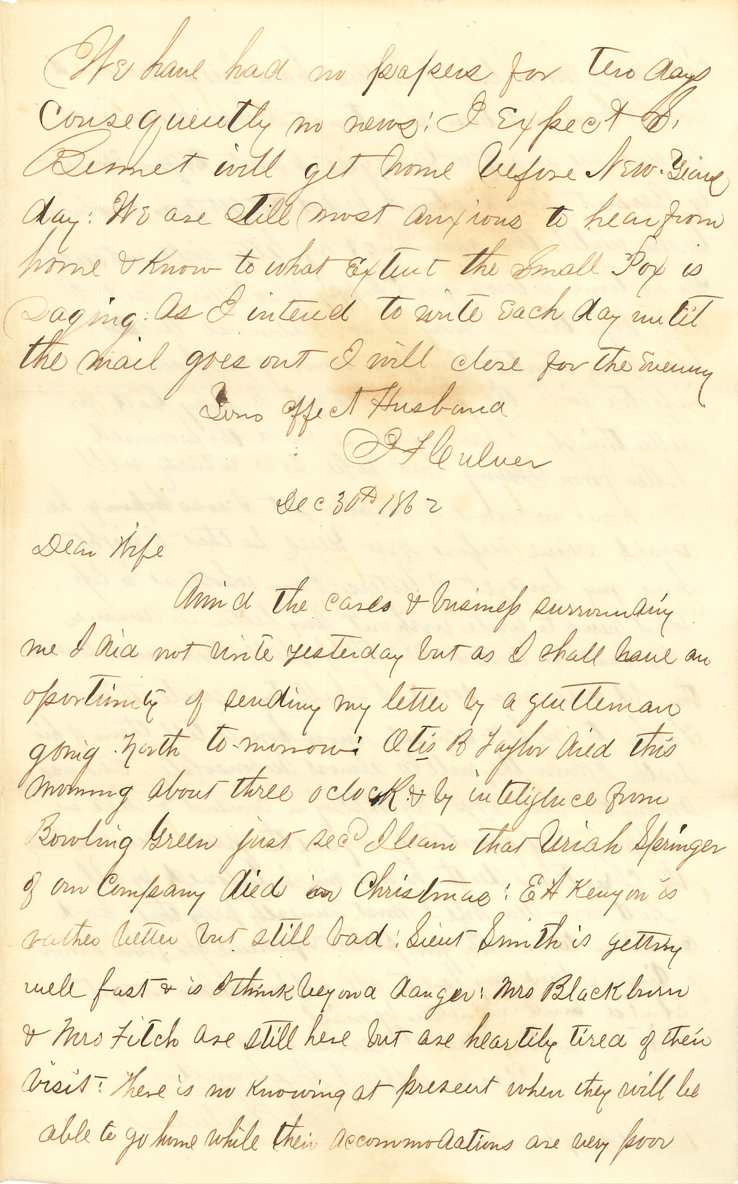 Joseph Culver Letter, December 30, 1862, Page 1