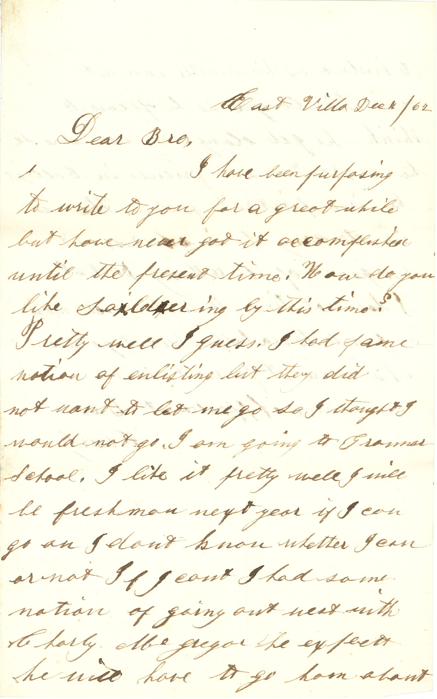 Joseph Culver Letter, December 10, 1862, Page 1
