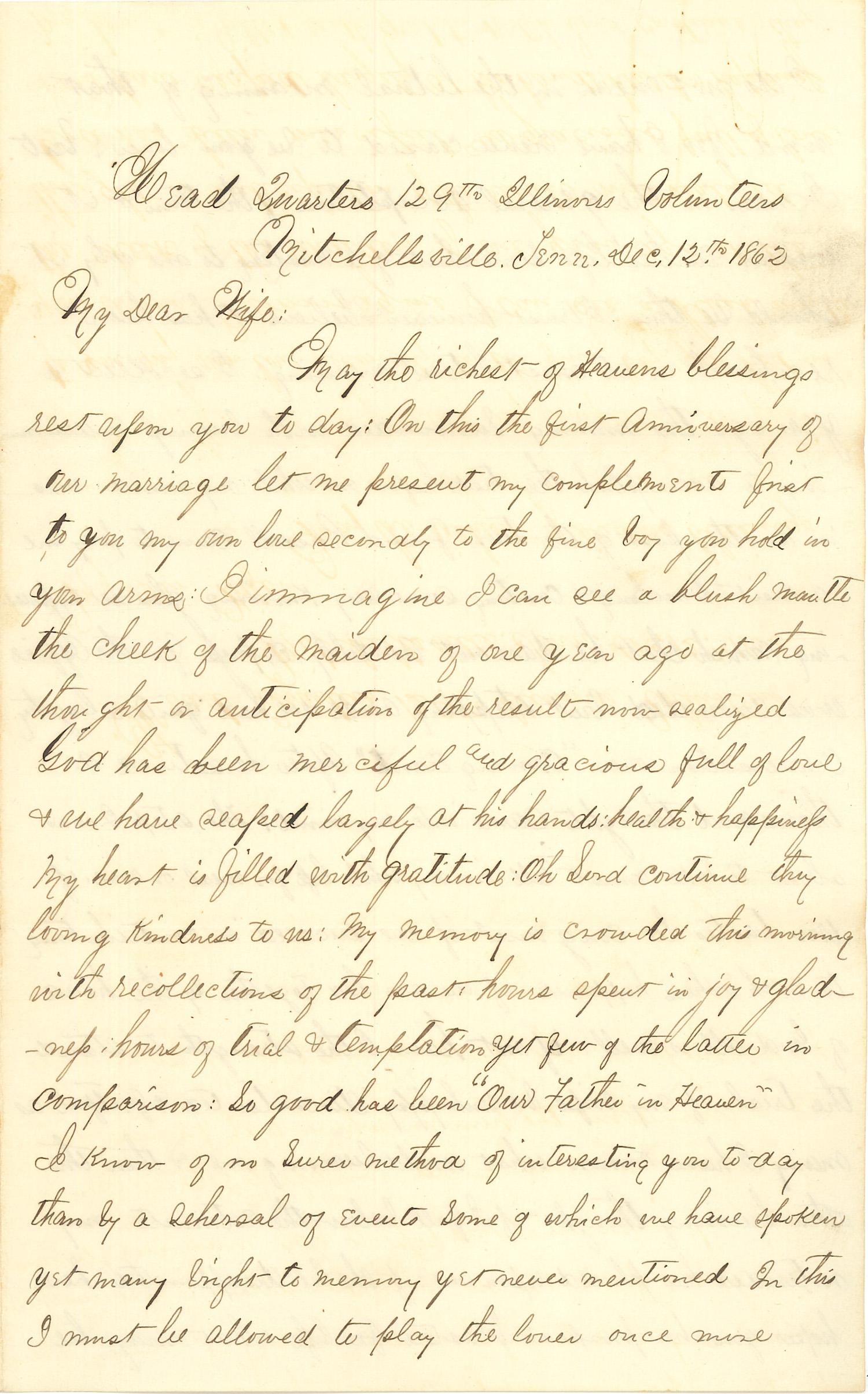 Joseph Culver Letter, December 12, 1862, Page 1