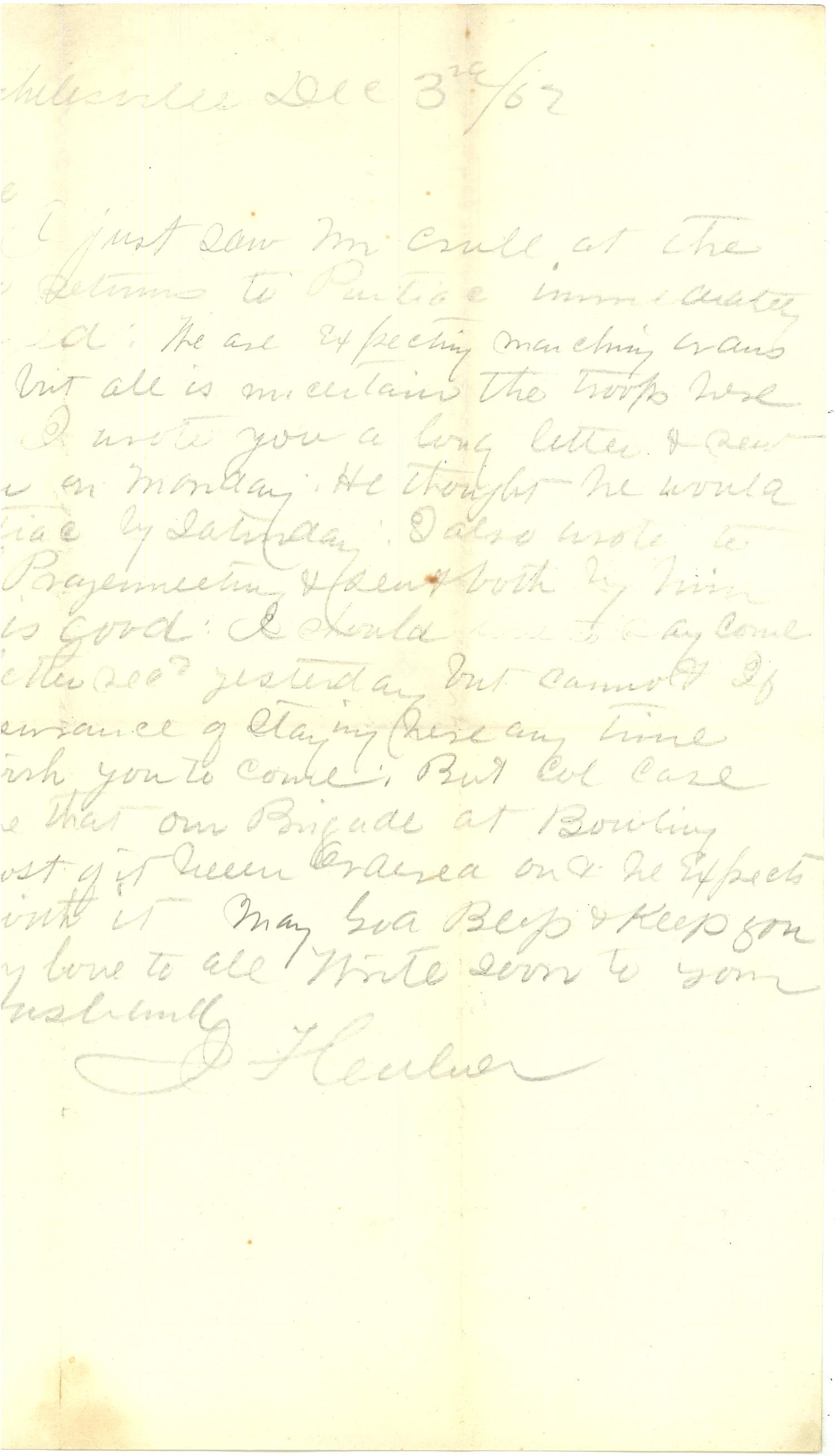 Joseph Culver Letter, December 3, 1862, Letter 2, Page 1
