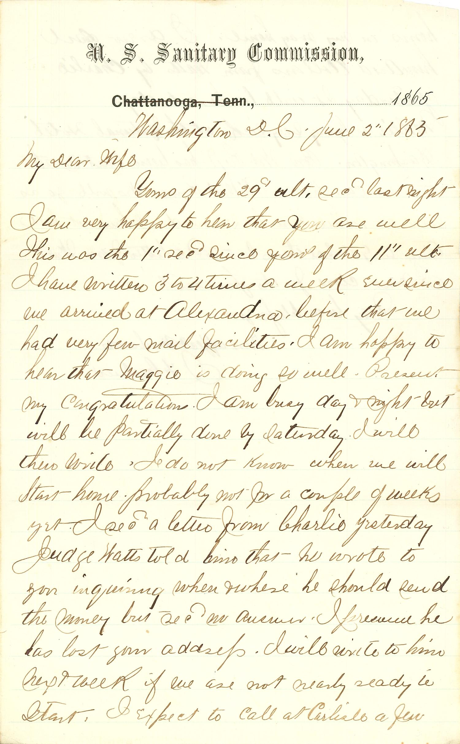 Joseph Culver Letter, June 2, 1865, Page 1