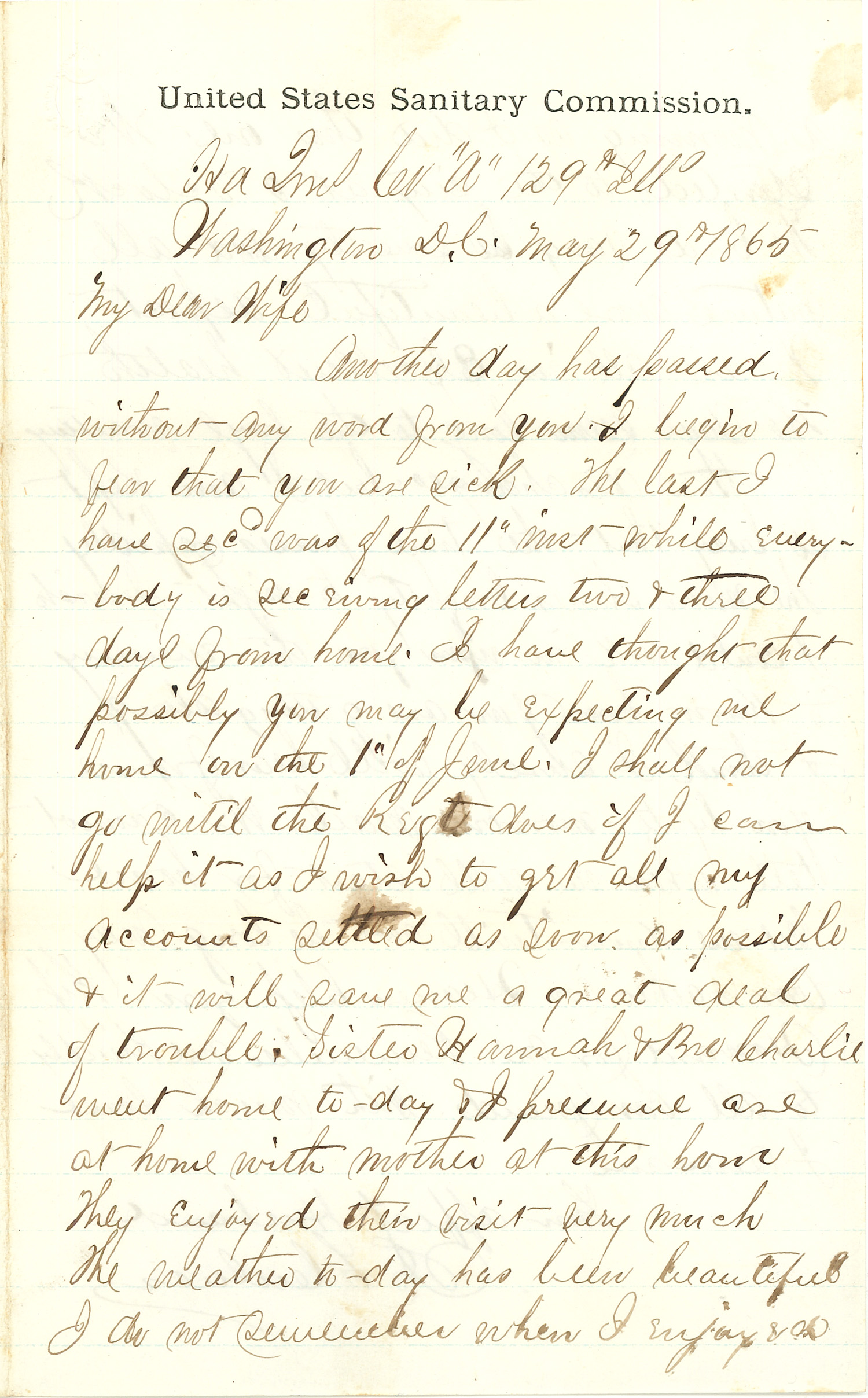 Joseph Culver Letter, May 29, 1865, Page 1