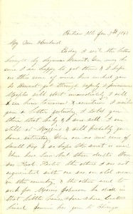 Joseph Culver Letter, January 7, 1863, Page 1