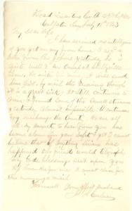 Joseph Culver Letter, July 15, 1863, Page 1