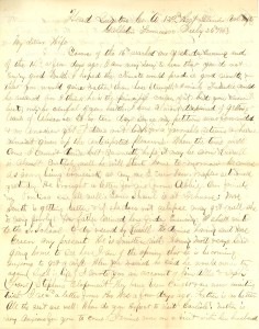 Joseph Culver Letter, July 26, 1863, Page 1