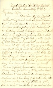 Joseph Culver Letter, July 9, 1863, Page 1