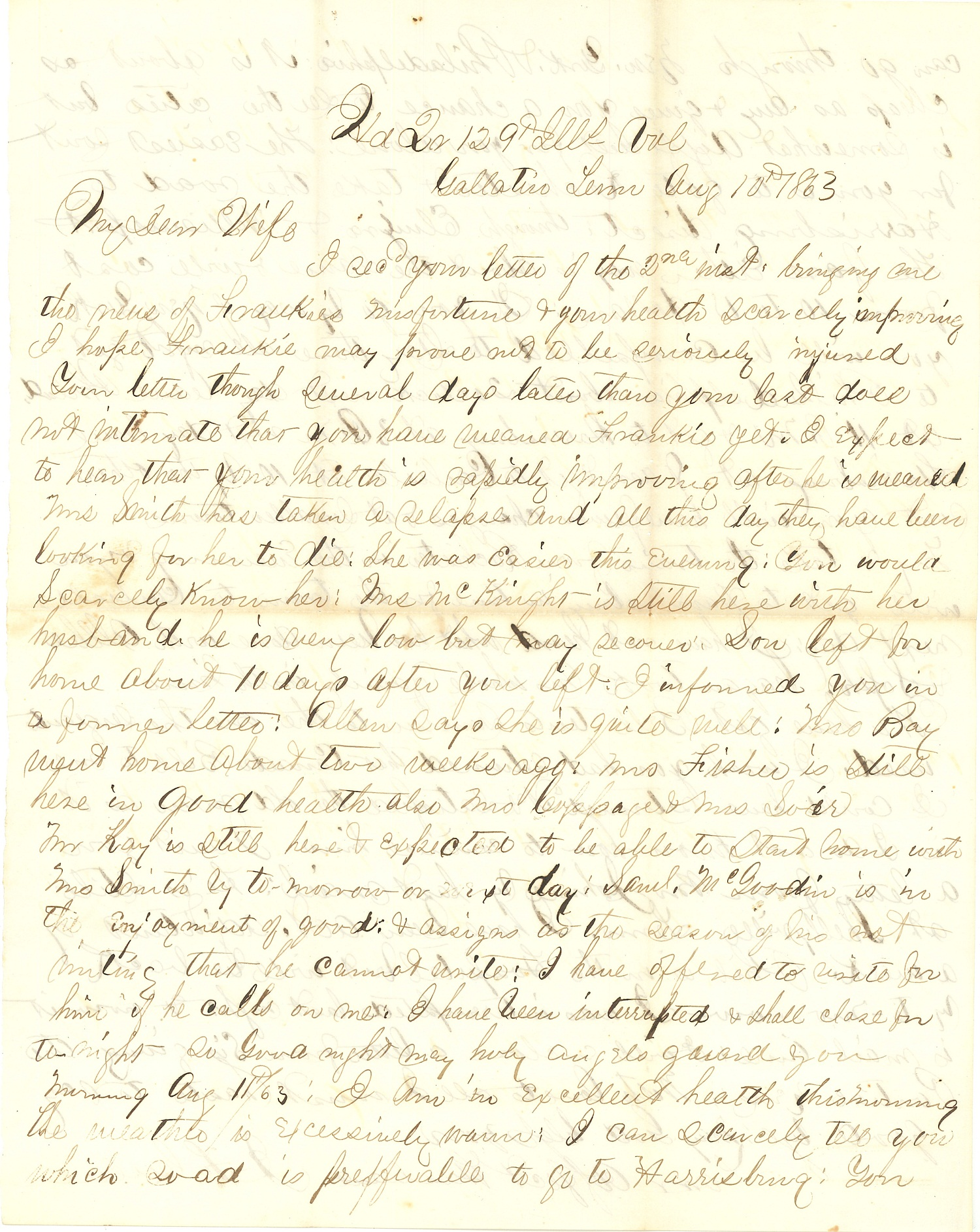 Joseph Culver Letter, August 10, 1863, Page 1