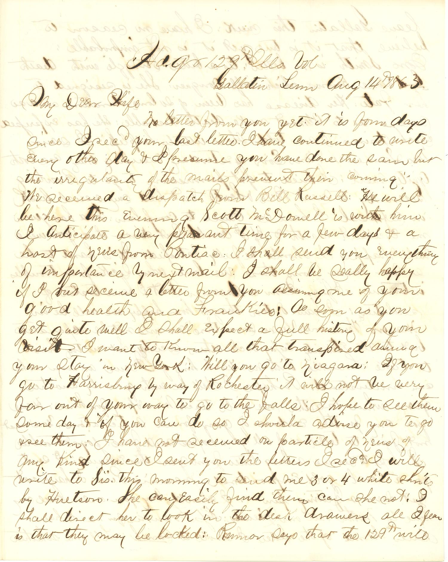 Joseph Culver Letter, August 14, 1863, Page 1