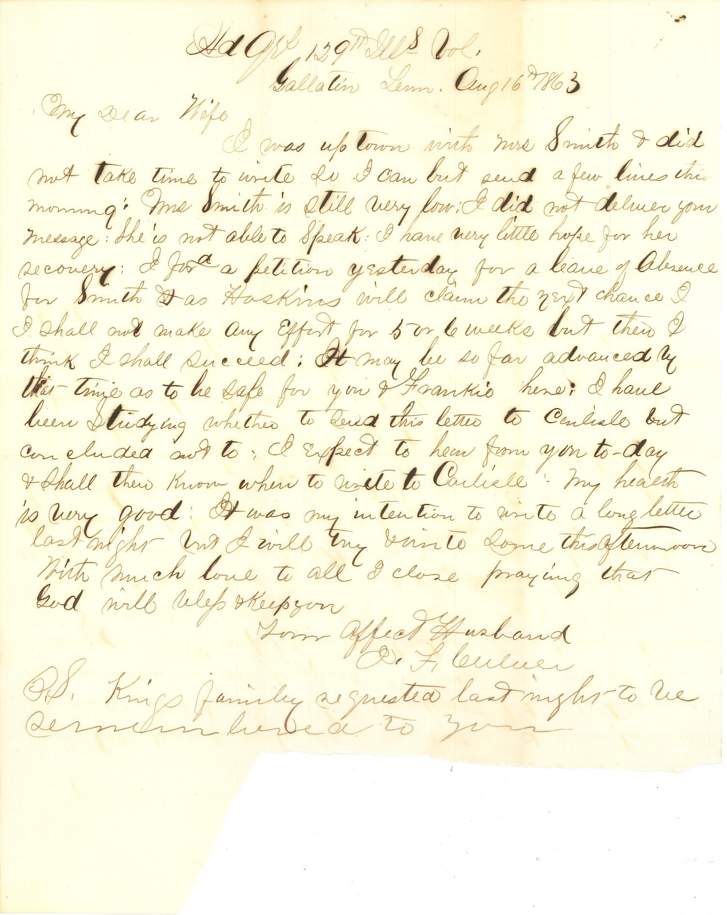 Joseph Culver Letter, August 16, 1863, Page 1