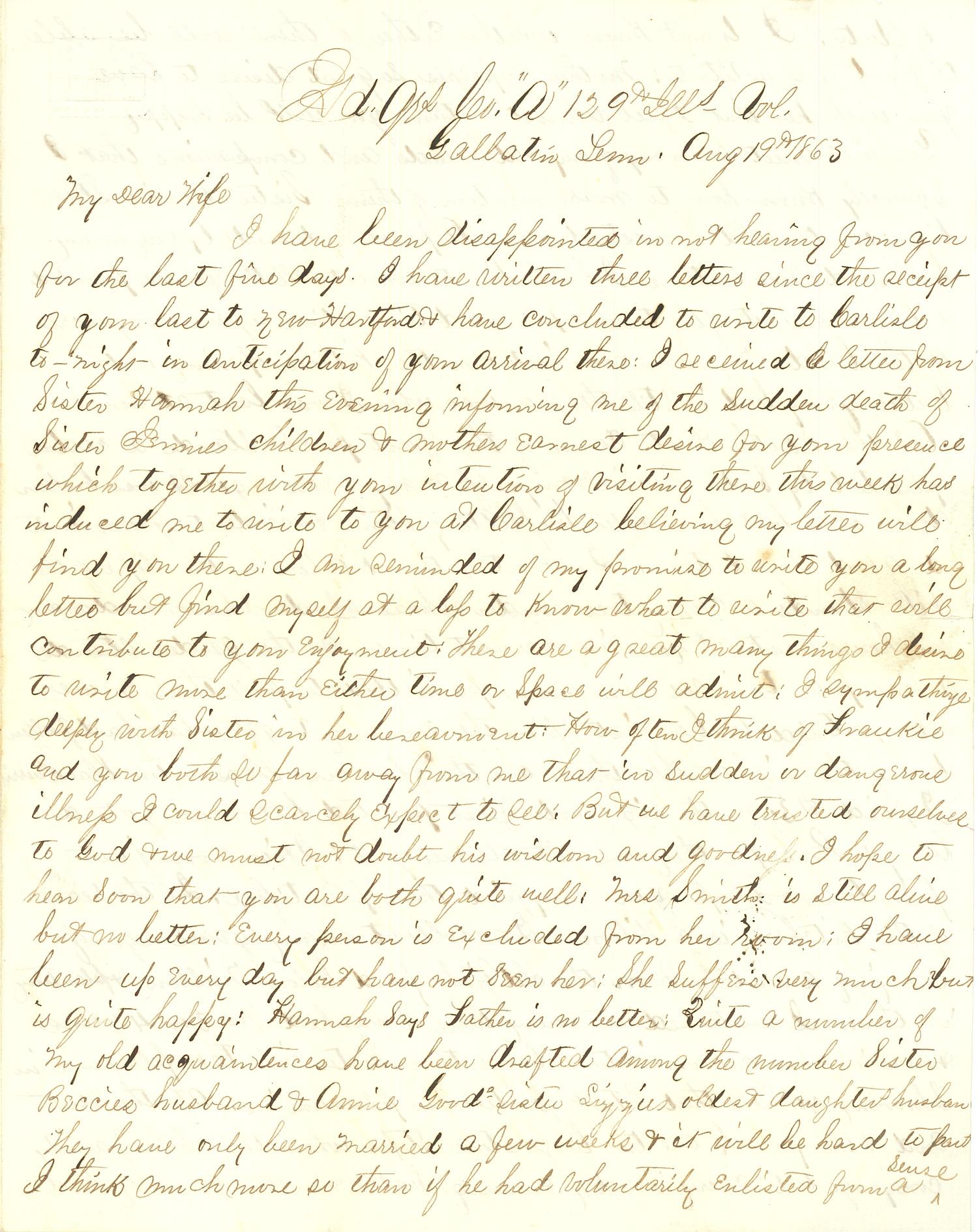 Joseph Culver Letter, August 19, 1863, Page 1