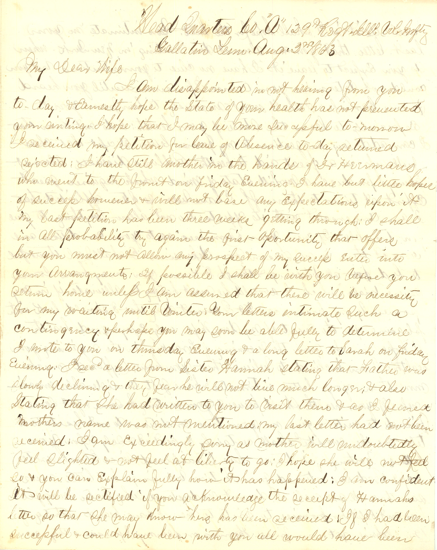 Joseph Culver Letter, August 2, 1863, Page 1
