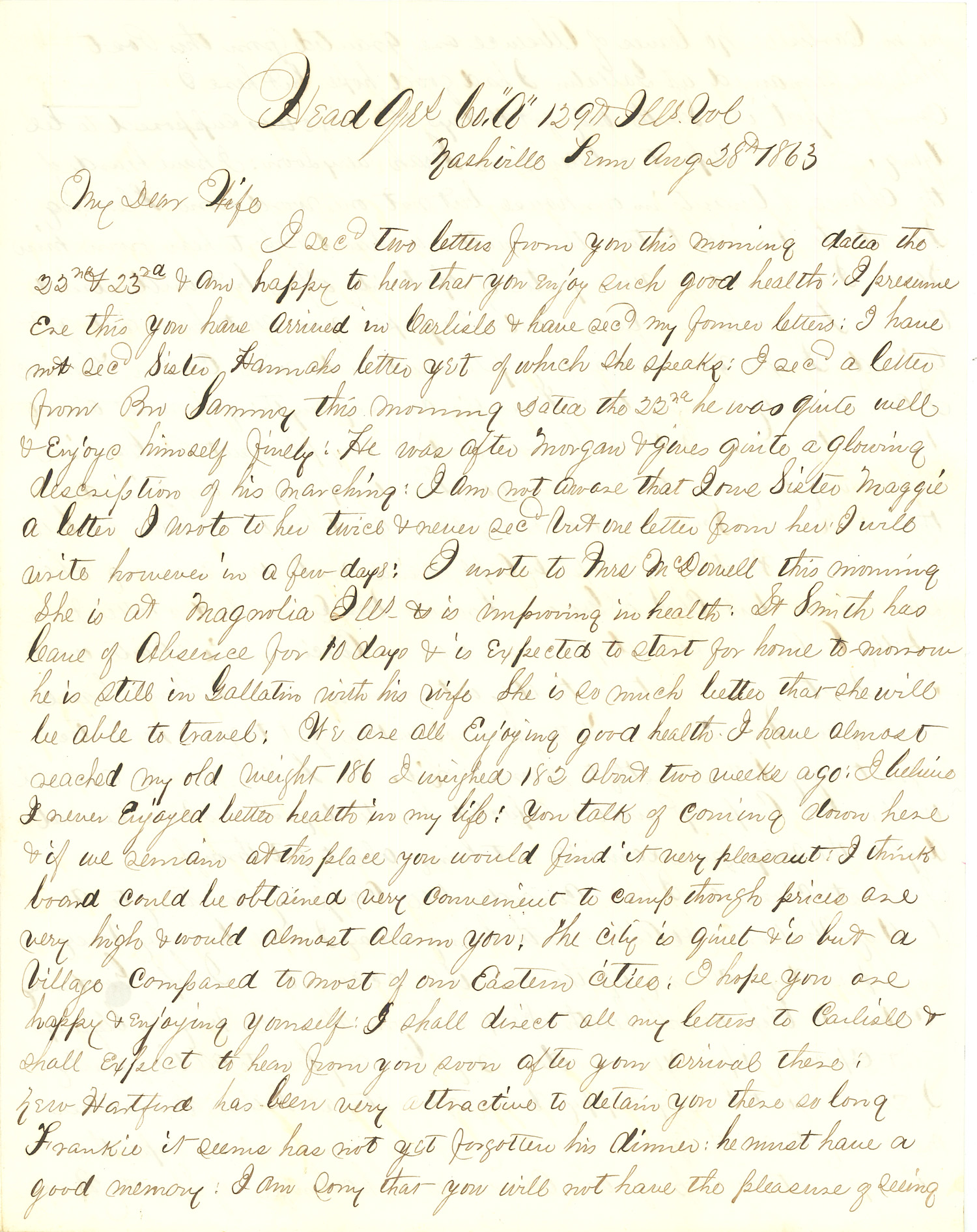 Joseph Culver Letter, August 28, 1863, Letter 2, Page 1
