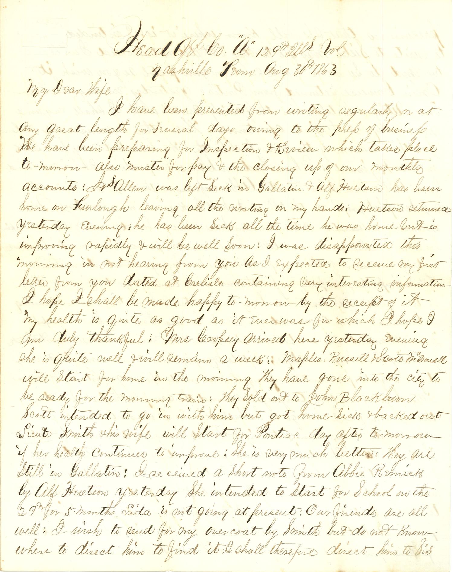 Joseph Culver Letter, August 30, 1863, Page 1