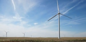 A field of wind turbines located west of Williams, Iowa Source: Wikimedia Commons