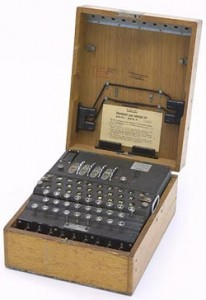 Photo of a genuine Marine 4-rotor Enigma encoding/decoding machine, from Bletchley Park, England