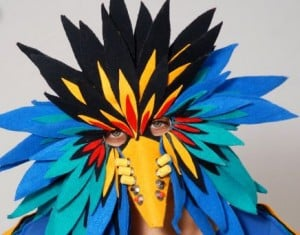 """Dream Squawk"" mask created by Amy Khoshbi."