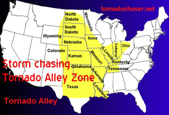Tornado Alley is a nickname given to an area in the southern plains of the central United States that consistently experiences a high frequency of tornadoes each year.