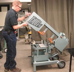 Ellis mitre band saw in the Engineering Machine shop (EMS).