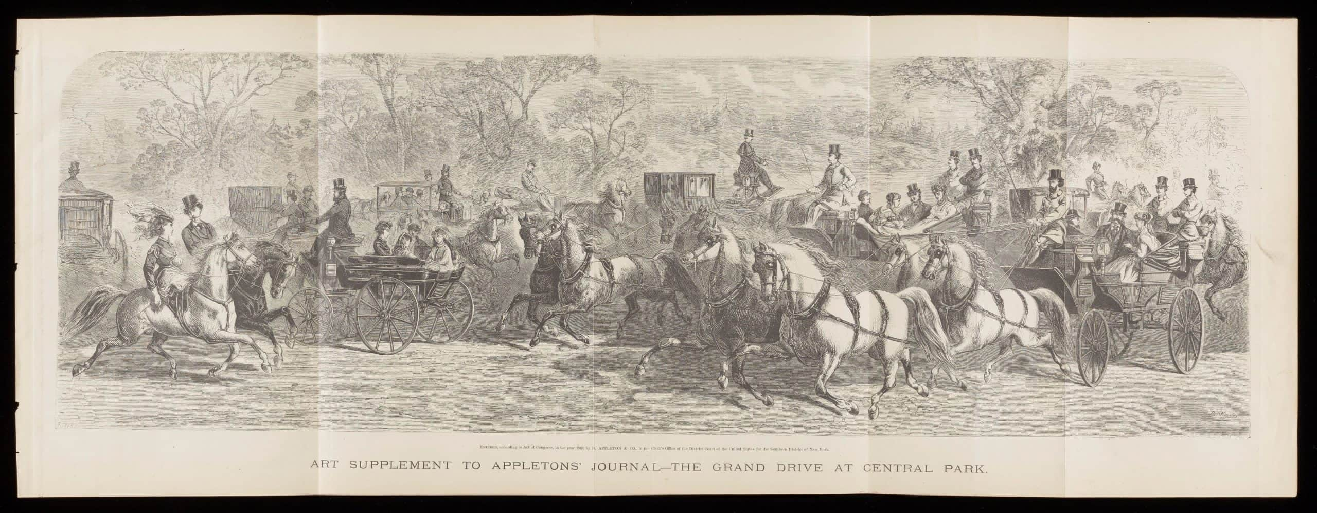 "The image is a black and white illustration and shows a scene of upper-class Victorians riding their horses and sitting in horse-drawn carriages on a mild day. The scene is set in Central Park, New York City. The caption for this illustration says ""Art Supplement to Appleton's Journal. The Grand Drive at Central Park."" The image is horizontal and long, indicating that it was a centerfold of Appleton's Journal."