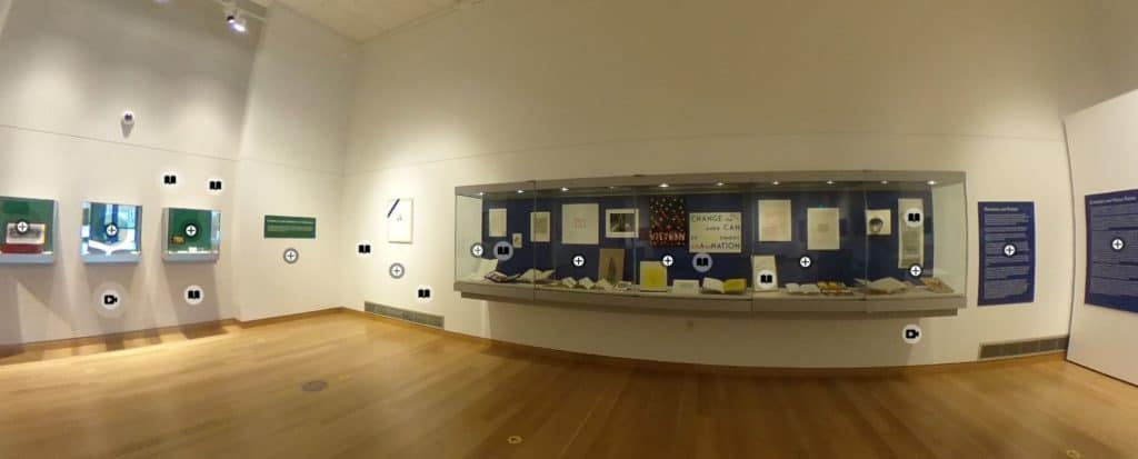 An image of some of the cases in the Main Library Gallery. They are filled with items from the Sackner collection.