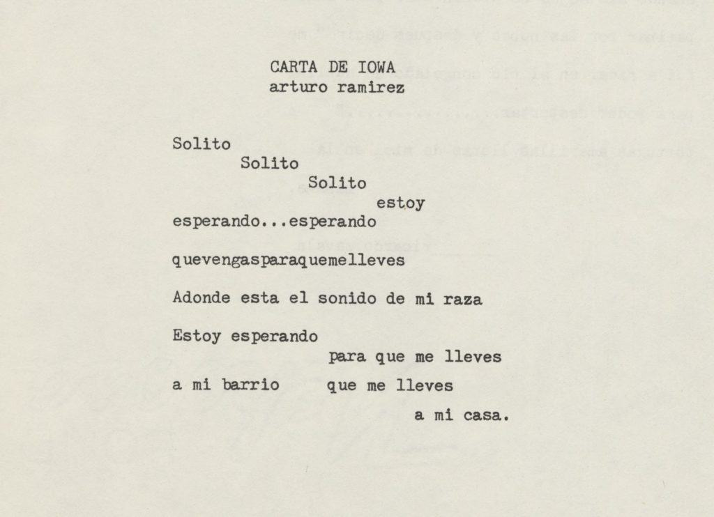 A white page with a typewritten poem in Spanish.