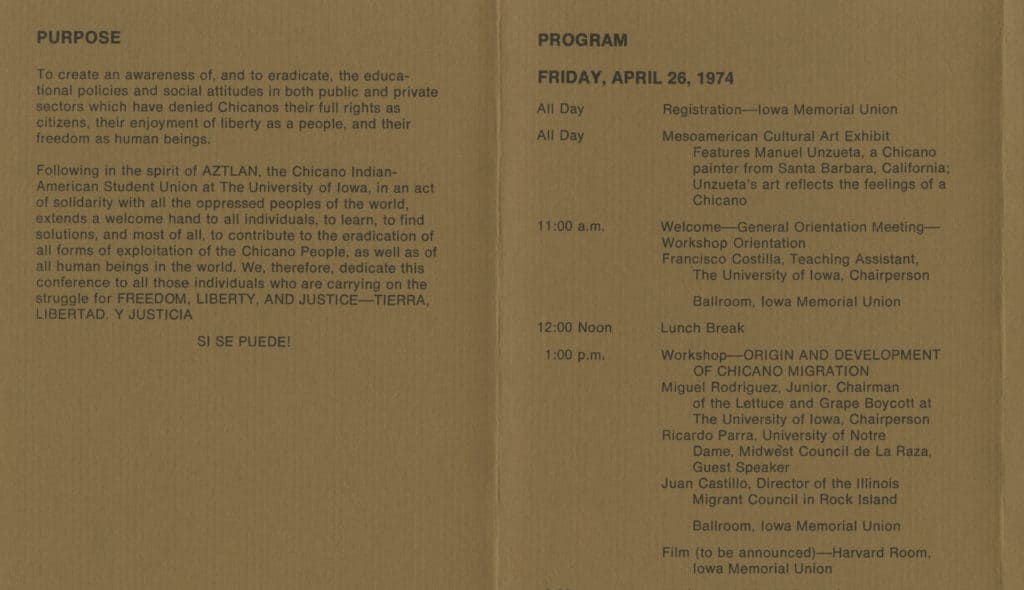 Detail from the 1974 Chicano Conference program.