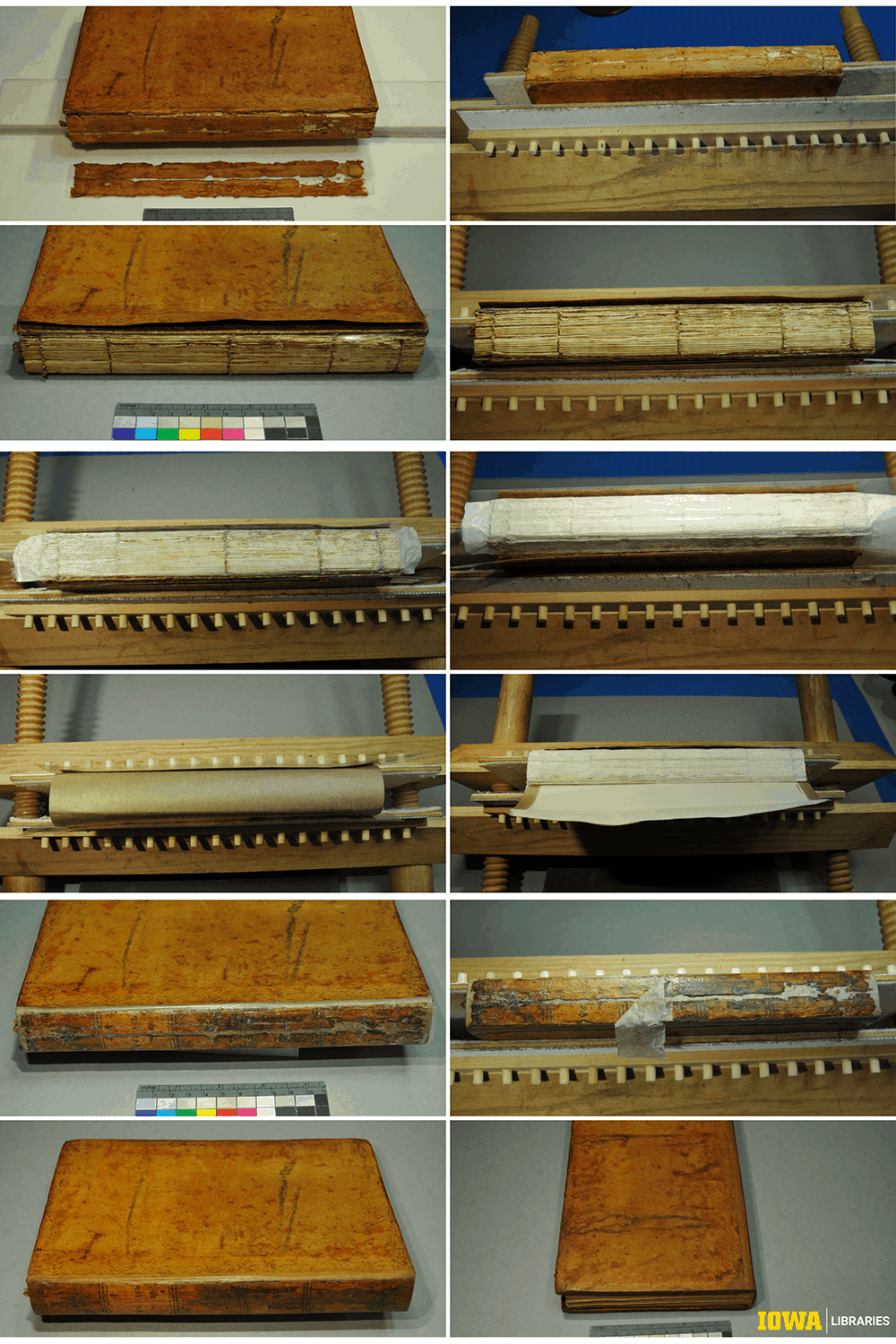 A series of photos shows the spine repair for this book.