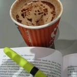 picture of coffee, book, highlighter