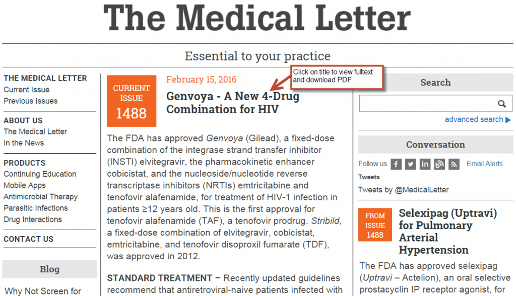 medical letter homepage