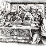 woodcut physicians looking at a book
