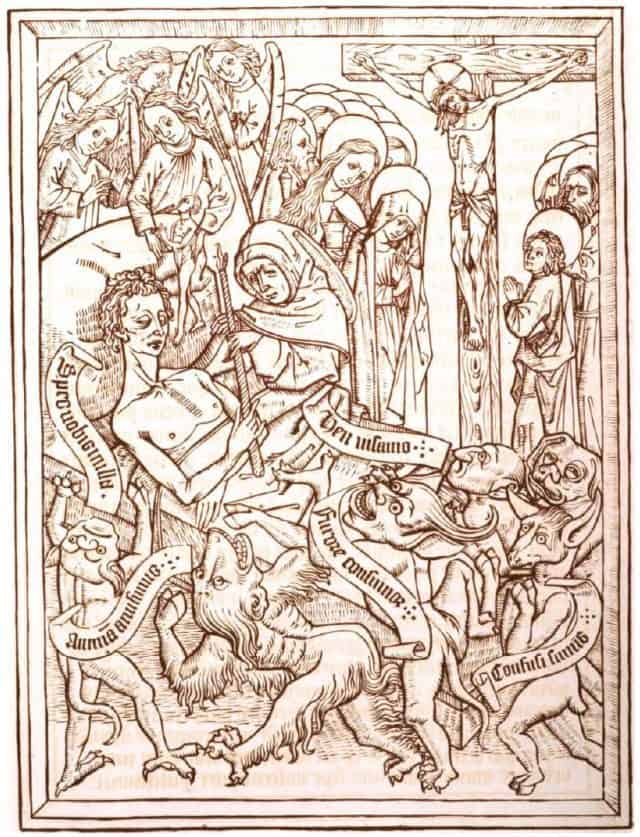 woodblock religious image from 1400s