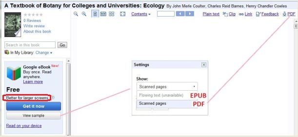 Google eBooks: Flowing text (ePub) & Scanned pages (PDF