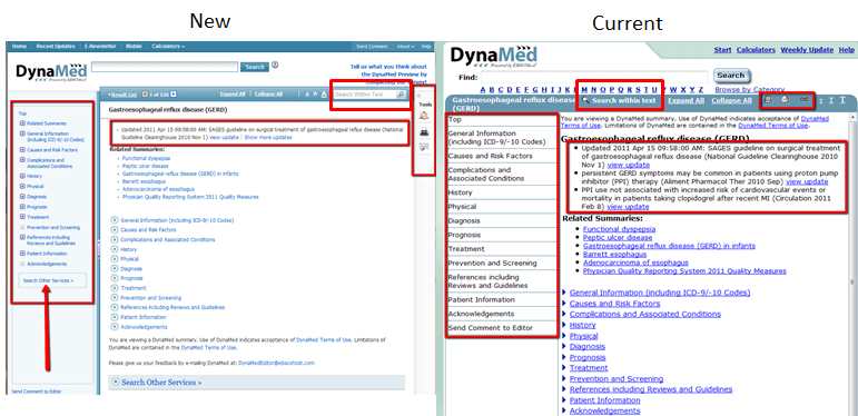 Topics view for new and current DynaMed interfaces