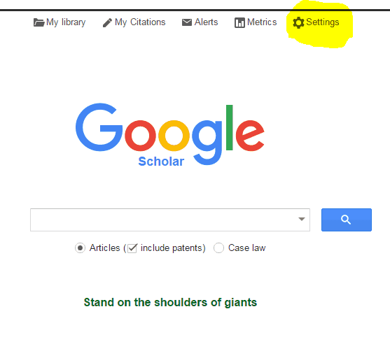 image of google scholar screen