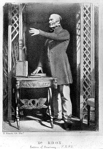 lithograph of Robert Knox lecturing with books on stand