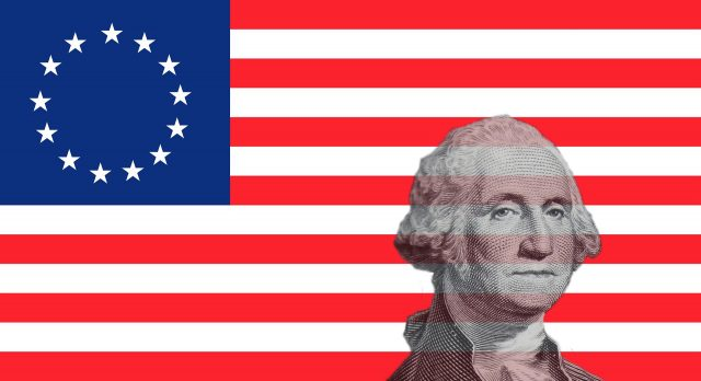 image of George Washington superimposed on top of 13 star flag