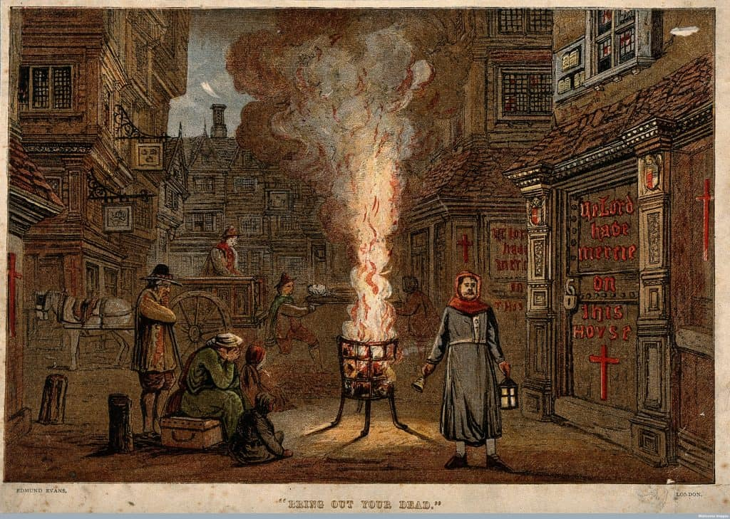 image of fire burning in street during plague